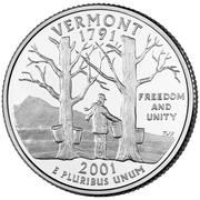 "¼ Dollar ""Quarter Vermont"" (cupronickel) -  revers"