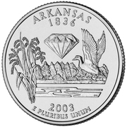 "¼ Dollar ""Quarter Arkansas"" (cupronickel) -  revers"
