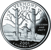 "¼ Dollar ""Quarter Vermont"" (argent) – revers"