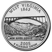 "¼ Dollar ""Quarter Virginie de l'Ouest"" (cupronickel) -  revers"