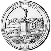 """¼ Dollar """"Quarter Gettysburg National Military Park"""" -  revers"""
