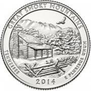 "¼ Dollar ""Washington Quarter"" (Tennessee - Great Smoky Mountains) -  revers"