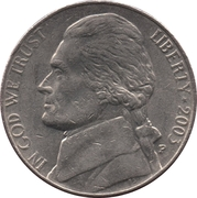 "5 cents ""Jefferson Nickel"" (1er portrait) -  avers"