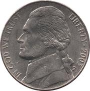 "5 cents ""Jefferson Nickel"" (1er portrait) -  avers"