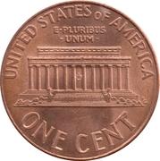 """1 cent """"Lincoln Memorial Penny"""" (zinc plaqué cuivre) -  revers"""