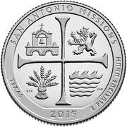 ¼ Dollar ''Washington Quarter'' (San Antonio Missions National Historical Park, Texas) -  revers
