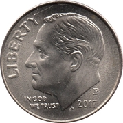 """10 cents """"Roosevelt Dime"""" (cupronickel) -  avers"""
