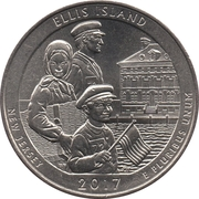 ¼ Dollar ''Washington Quarter'' (Ellis Island (Statue of Liberty National Monument), NewJersey) -  revers