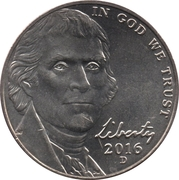 "5  cents ""Jefferson Nickel"" (Retour à Monticello) -  avers"