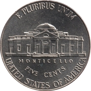 """5  cents """"Jefferson Nickel"""" (Retour à Monticello) -  revers"""