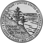 5 Cents Jefferson (Vue de l'océan) -  revers