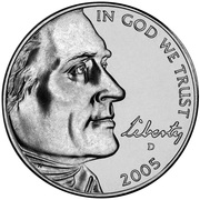 "5 cents ""Jefferson Nickel"" (Bison) -  avers"