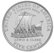 "5 cents ""Jefferson Nickel"" (Keelboat de Lewis) -  revers"