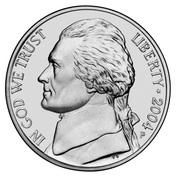 """5 cents """"Jefferson Nickel"""" (achat de la Louisiane) -  avers"""