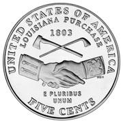 "5 cents ""Jefferson Nickel"" (achat de la Louisiane) -  revers"