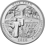 ¼ Dollar ''Washington Quarter'' (Weir Farm National Historic Site, Connecticut) -  revers
