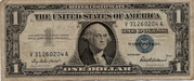1 Dollar (Small Size Silver Certificate; Blue Seal; With Motto) -  avers