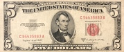 5 Dollars (United States Note; Red Seal Right; No Motto) -  avers