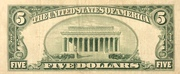 5 Dollars (United States Note; Red Seal Right; No Motto) -  revers