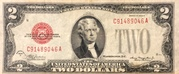 2 Dollars (Small Size United States Note; Red Seal Left) -  avers