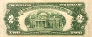 2 Dollars (Small Size United States Note; Red Seal Left) -  revers