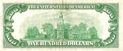 100 Dollars (Federal Reserve Note; small portrait; no motto) – revers