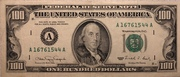 100 Dollars (Federal Reserve Note; small portrait; with security thread) – avers
