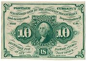 "10 Cents (""Postage Currency"" - 1st issue) – avers"