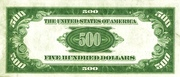 500 Dollar Note (Federal Reserve) – revers