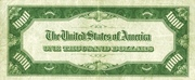1,000 Dollars (Federal Reserve Note) – revers