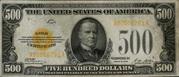 500 Dollars Gold Certificate – avers