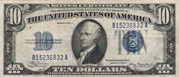 10 Dollars (Silver Certificate; Blue Seal and 5) -  avers