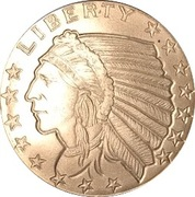 ¼ oz Silver (Golden State Mint - Incuse Indian Head) -  avers