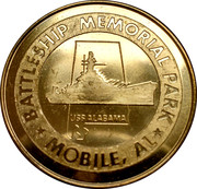 Battleship Memorial Park Mobile, Alabama - USS Alabama Battleship -  revers