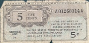 5 Cents Military Payment Certificate Series 461 (1946-1947) – avers