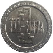 1 Dollar Gaming Token - Club CAL-NEVA (Reno, Nevada) – revers