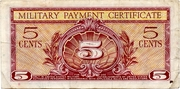 5 Cents Military Payment Certificate – revers