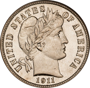 """10 cents """"Barber Dime"""" -  avers"""