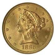 "5 dollars ""Liberty Head Half Eagle"" -  avers"