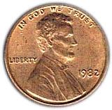 """1 cent """"Lincoln Memorial Penny"""" (zinc plaqué cuivre) -  avers"""