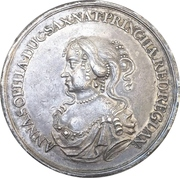 Medal - To the travel of Anna Sophie to her hometown in Denmark - Johann Georg II. – avers