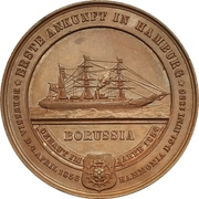 """Medal - First arrival of the ship """"Borussia"""" in Hamburg – revers"""