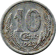 10 centimes - Chambre de Commerce - Eure & Loir [28] – revers