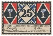 25 Pfennig (Evangelisch-Lutherische Landeskirche des Landesteils Lübeck) – avers