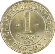 1 Franc - Chambre de Commerce d'Évreux (laiton) [27] – revers