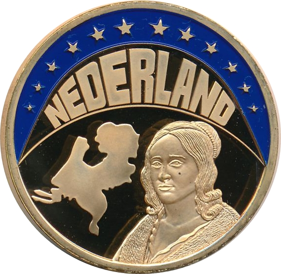 FRANCE ECU 1997 Charles de Gaulle Colored Proof Medal 40mm 33g Gold Plated NN73
