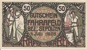 50 Heller (Fahrafeld) – avers