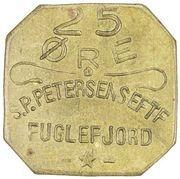 25 Øre (S. P. Petersens EFTF (Grandes lettres)) – avers