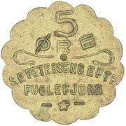 5 Øre (S. P. Petersens EFTF (Petites lettres)) – avers