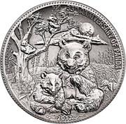 2017 8 oz Silver Panda Fiji $5 Coin .999 Fine Antiqued High Relief – avers